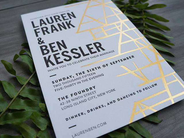 Modern Black White And Gold Foil Wedding Invitations By Here We Are