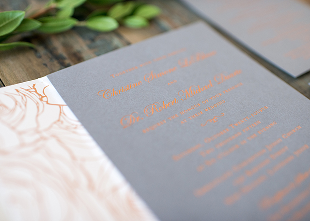 Modern Copper Foil And Gray Wedding Invitations By Harken Press Oh So Beautiful Paper