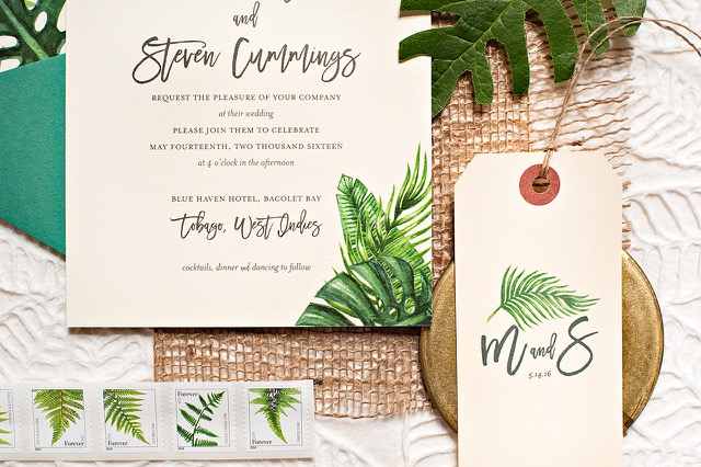 Tropical Leaf Destination Wedding Invitations By Suite Paperie Photo Lindsay Nathanson Oh So