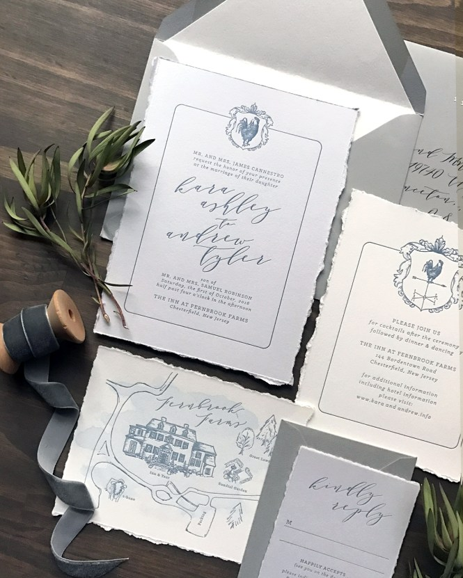 French Blue Letterpress Wedding Invitations