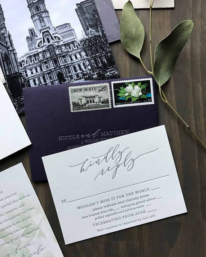 Purple And Gray Watercolor Wash Wedding Invitations