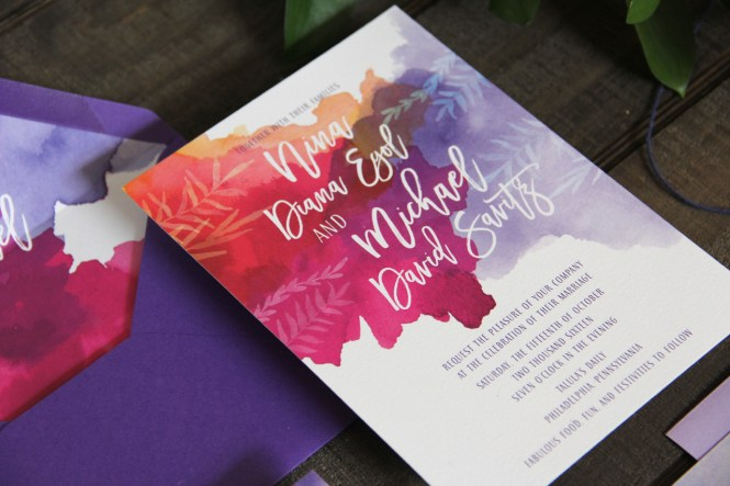 Purple And Fuchsia Watercolor Wedding Invitations