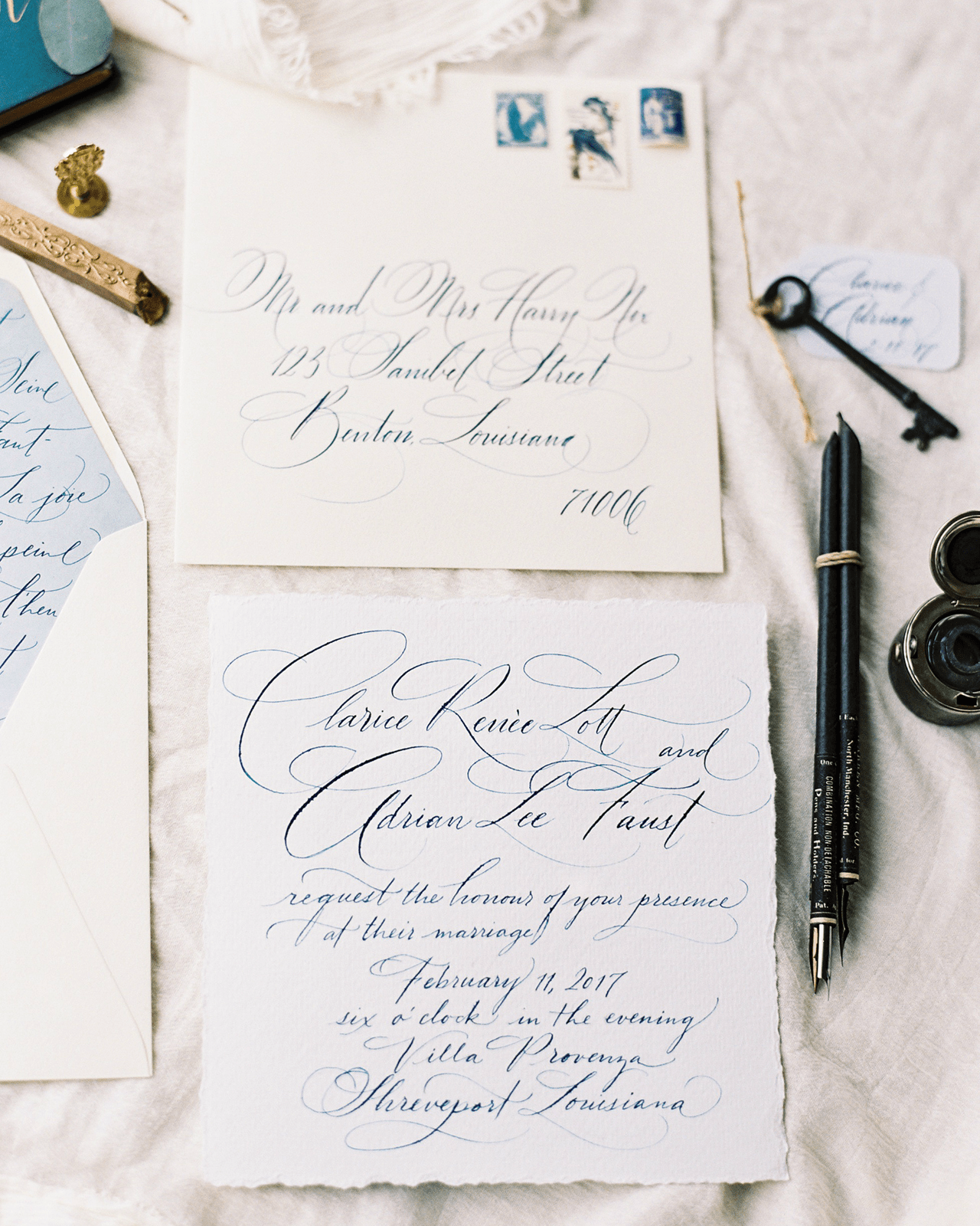 French Chateau Inspired Calligraphy Wedding Invitations