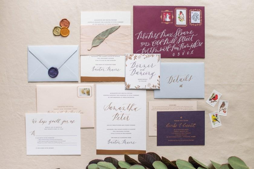 Romantic Copper Foil Wedding Invitations By Gus Ruby Letterpress