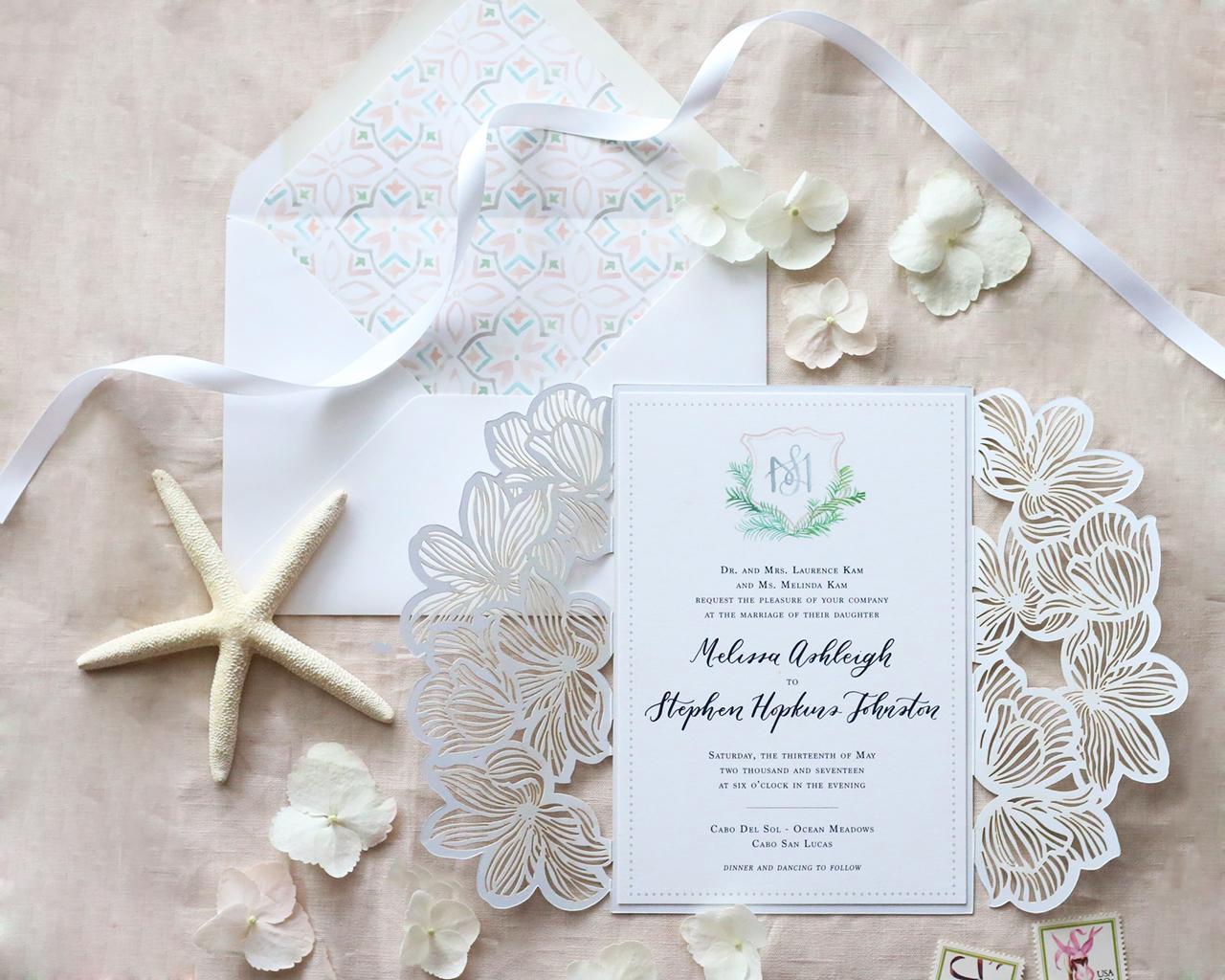 Navy Laser Cut Wedding Invitations
