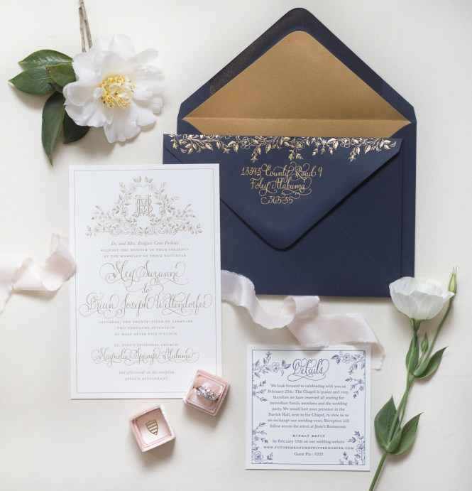 Regal Navy And Gold Foil Calligraphy Wedding Invitations