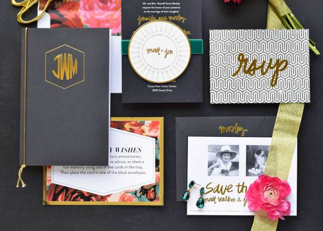 Funky Art Deco Gold Foil And Fl
