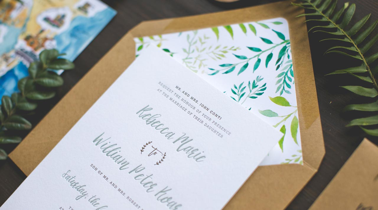 Great Illustrated Honeysuckle Vine Wedding Invitations