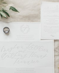 romantic gray calligraphy wedding invitations with deckled edges - Paper For Wedding Invitations