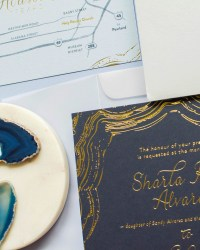 navy and gold foil agate inspired wedding invitations - Ideas For Wedding Invitations