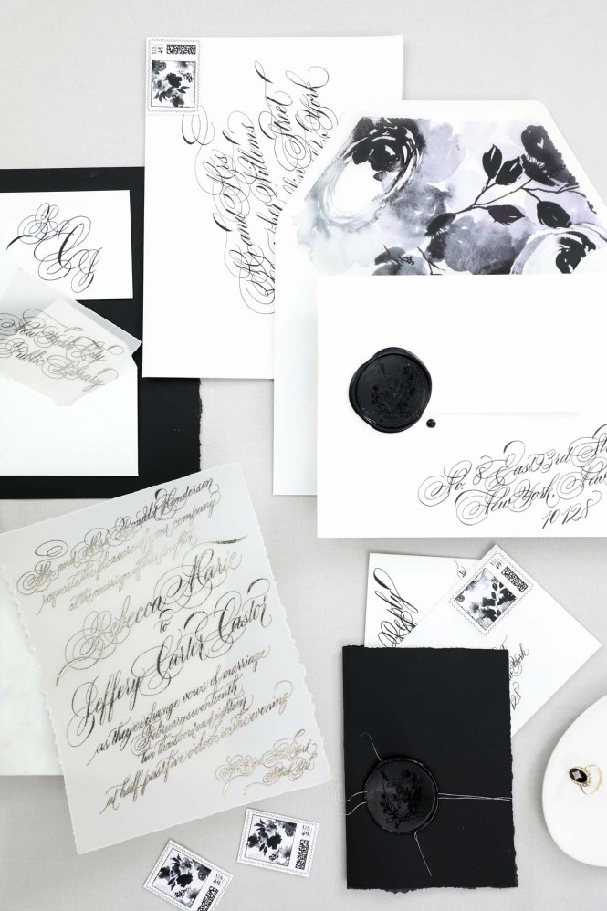 Black And White Calligraphy Watercolor Wedding Invitations