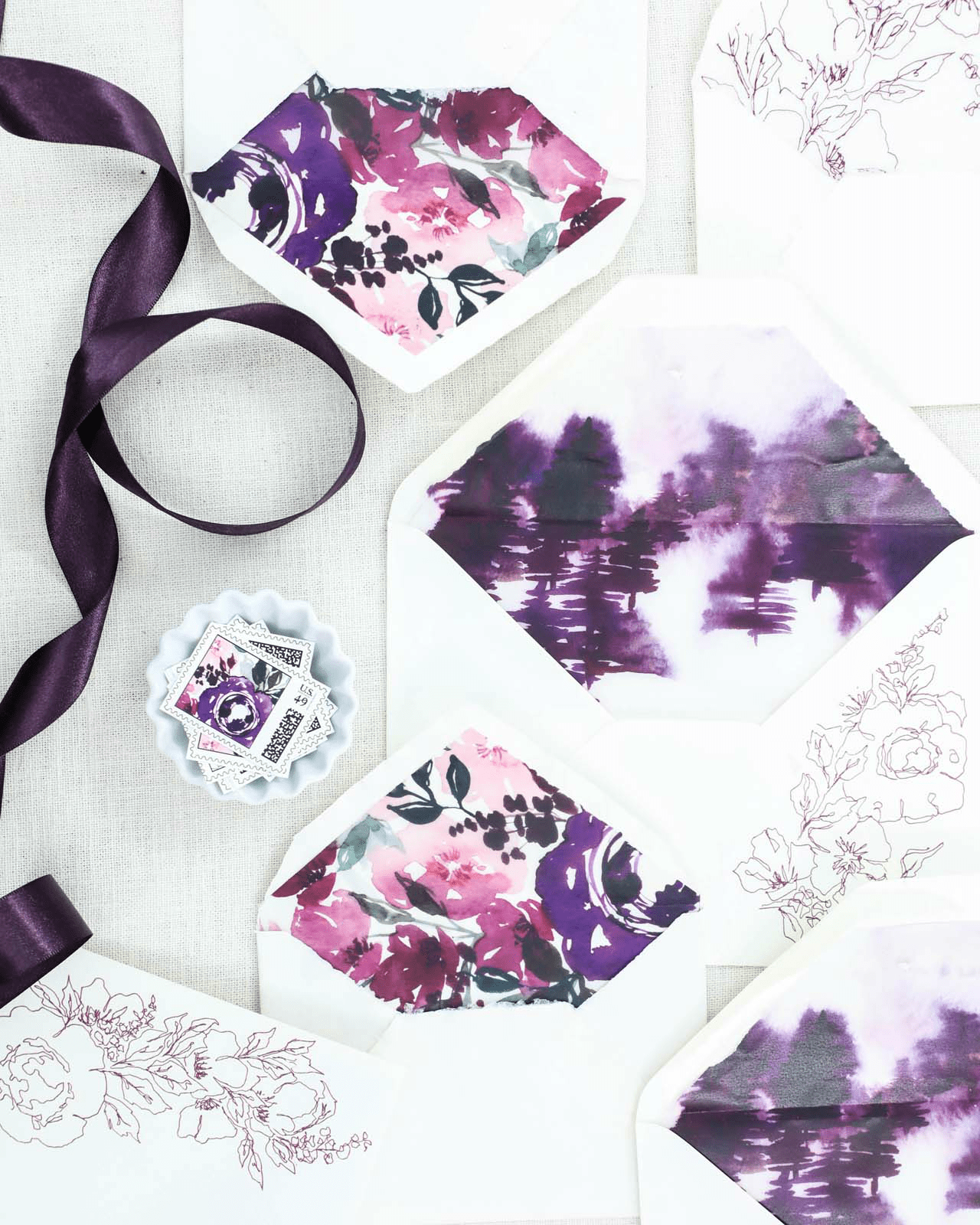 Purple Watercolor Floral And Calligraphy Wedding Invitations