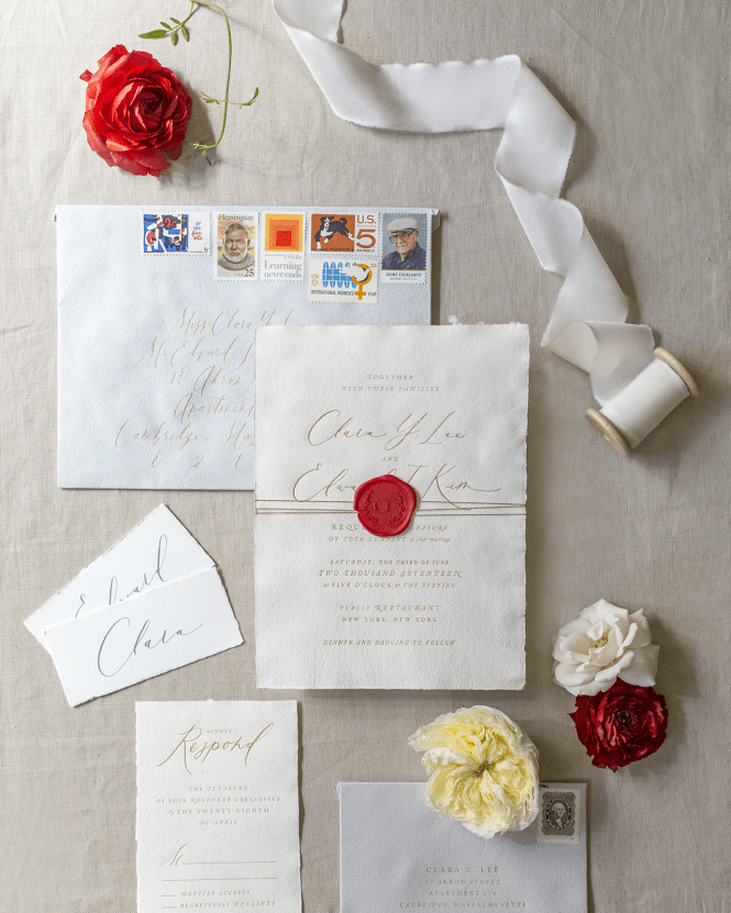 Deckle Edge Wedding Invitations With Red Wax Seal