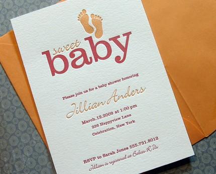 Letterpress Baby Shower Invitations Announcements