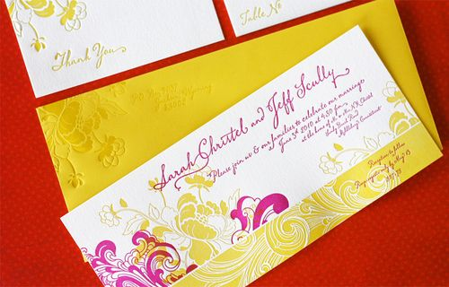 Sarah Jeff S Modern Fl Pink And Yellow Wedding Invitations