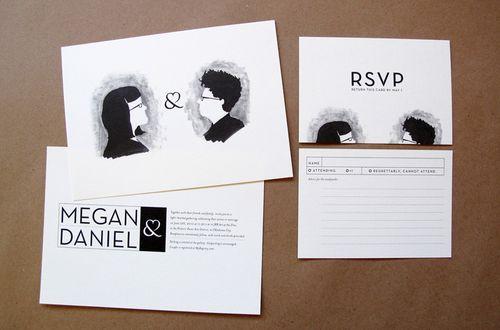 Black White Quirky Ilrated Portrait Wedding Invitations