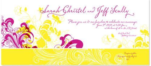 Sarah Jeff Fuschia Yellow Wedding Invitations Detail