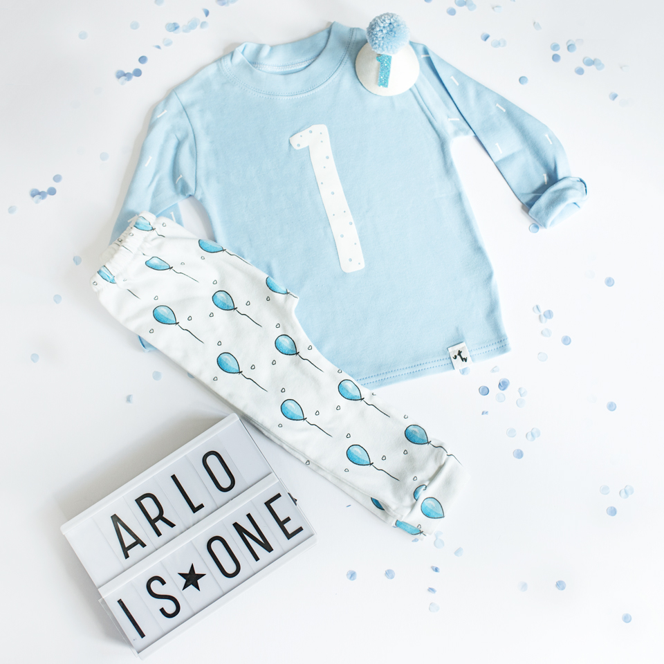 blue balloons birthday outfit for 1 year old