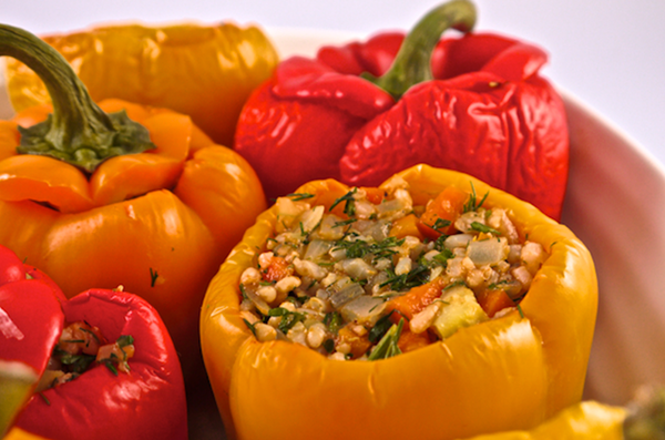 Fat Free Vegan Greek Rice Stuffed Peppers Recipe