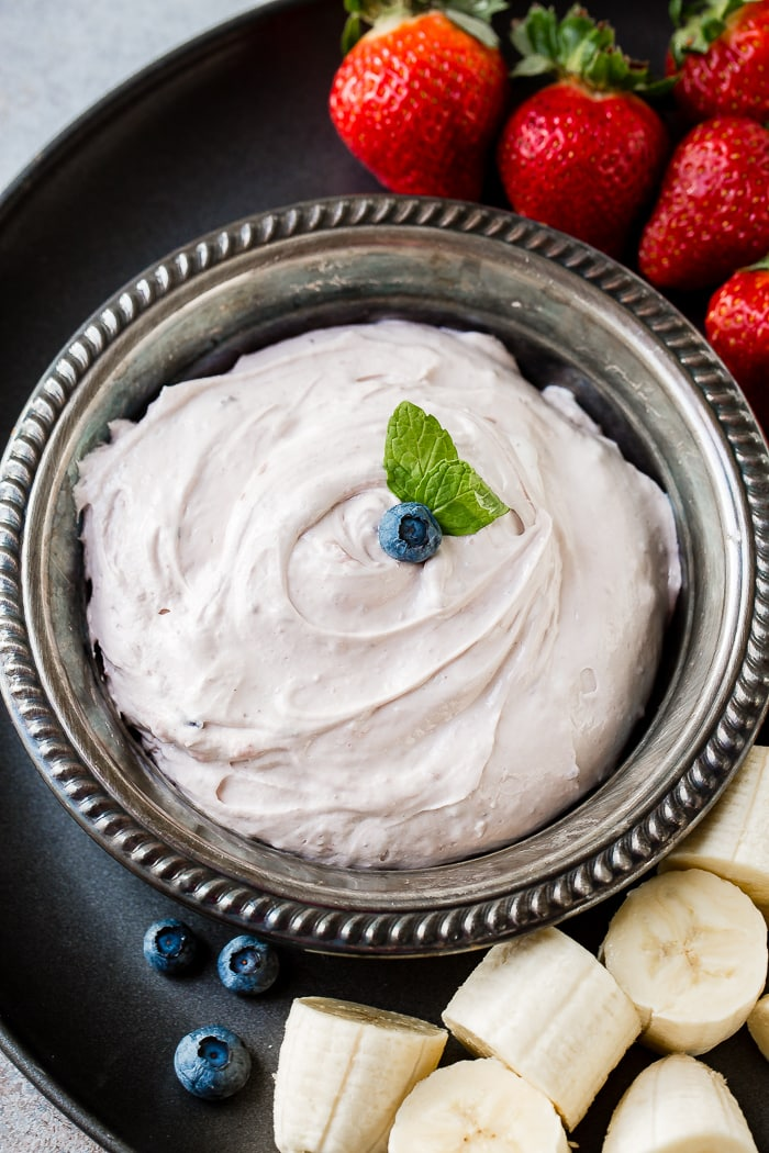 It only takes 2 simple ingredients to make this quick and easy blueberry fluff fruit dip ohsweetbasil.com