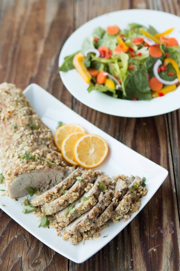 The only moist pork tenderloin, herb and almond crusted pork tenderloin ohsweetbasil.com