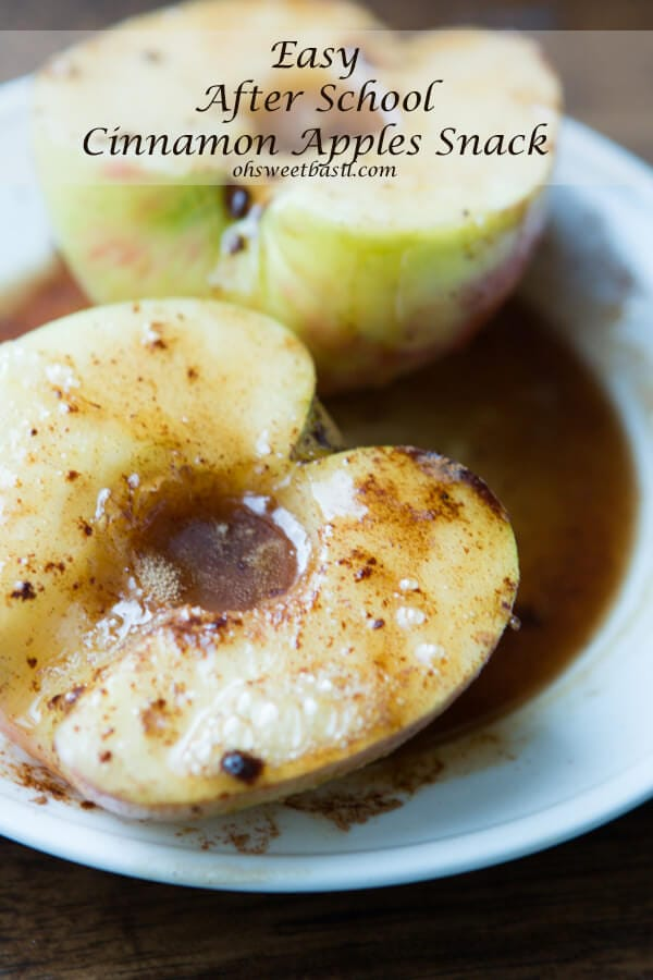 This recipe for an easy after school snack cinnamon apples is one that could have been healthy until I covered it in butter. Whoops!