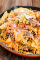 Hawaii's BEST pork nachos with pina colada sauce ohsweetbasil.com