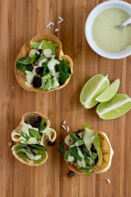 Skinny Turkey Taco Salad and Healthified Avocado Ranch ohsweetbasil.com