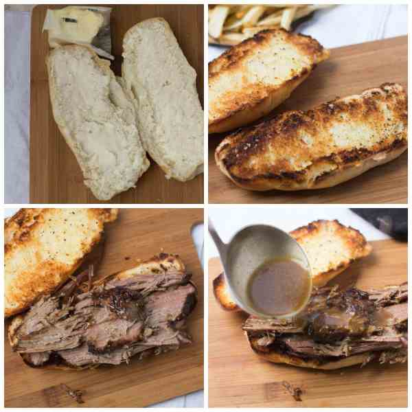 photo collage - putting together a Pot Roast sandwich on a wooden board.