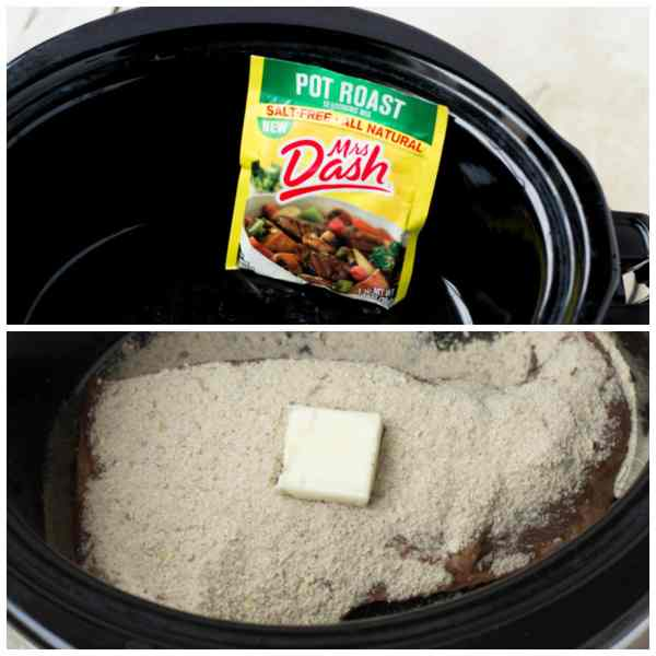 photo collage - Mrs. Dash pot roast spices and butter in a slow cooker.