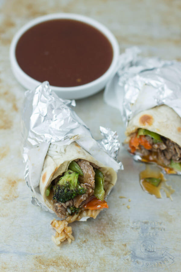 teriyaki beef wrap for a quick dinner! ohsweetbasil.com broccoli, carrots, rice, sesame seeds