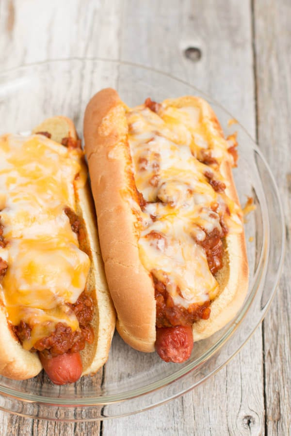 chili dogs; filling, easy to make and everyone loves them on game day! slow cooker, insta pot, pressure cooker, crockpot, superbowl ohsweetbasil.com