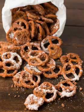 I can't stop eating these!!! Best Churro Pretzels ever! ohsweetbasil.com