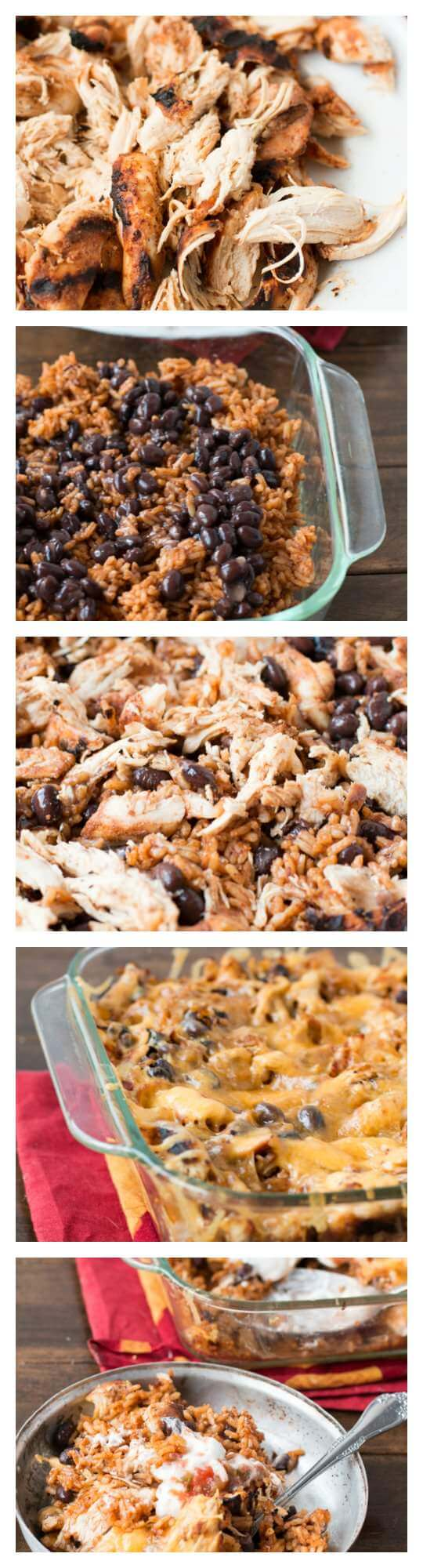 Mexican chicken and rice casserole for dinner tonight! ohsweetbasil.com spanish rice, black beans, shredded chicken, salsa, sour cream, cheese