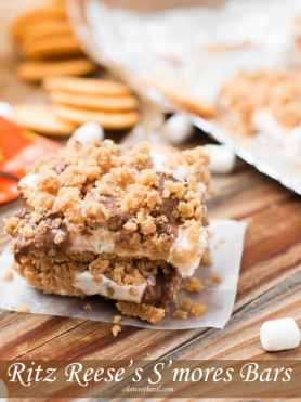 When I was little s'mores were only made with graham crackers but have you tried Ritz crackers? Salty and sweet these Ritz Reese's S'mores Bars are the new trend! mini marshmallows, peanut butter