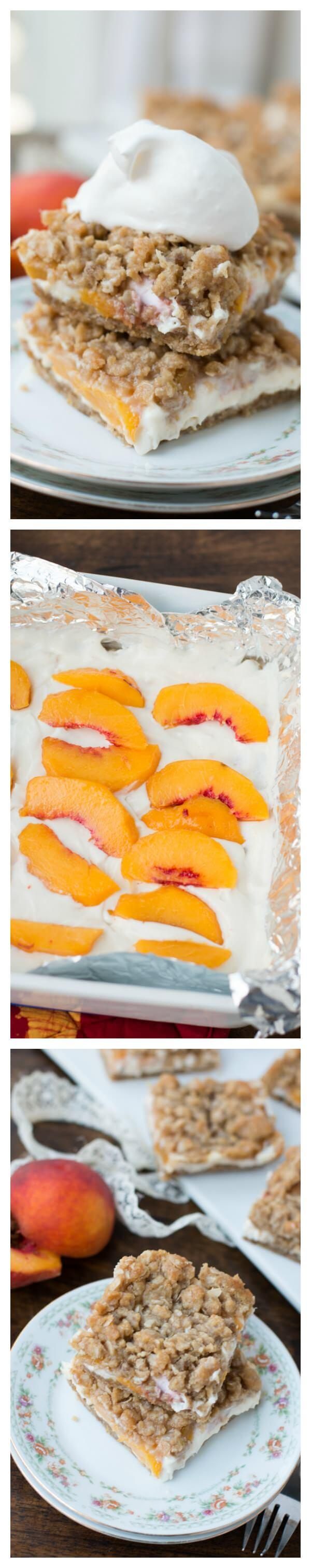 These peaches n cream crumble bars are the best dessert I've ever had with peaches. That creamy filling and brown sugar oat topping!!