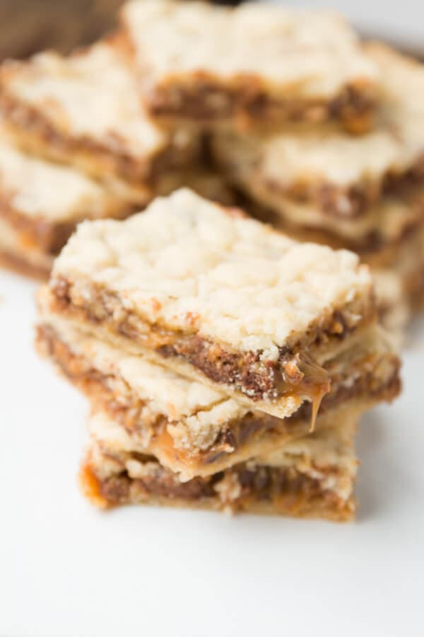 It's like an inside out twix as a brownies! Twix caramel blonde brownies! ohsweetbasil.com