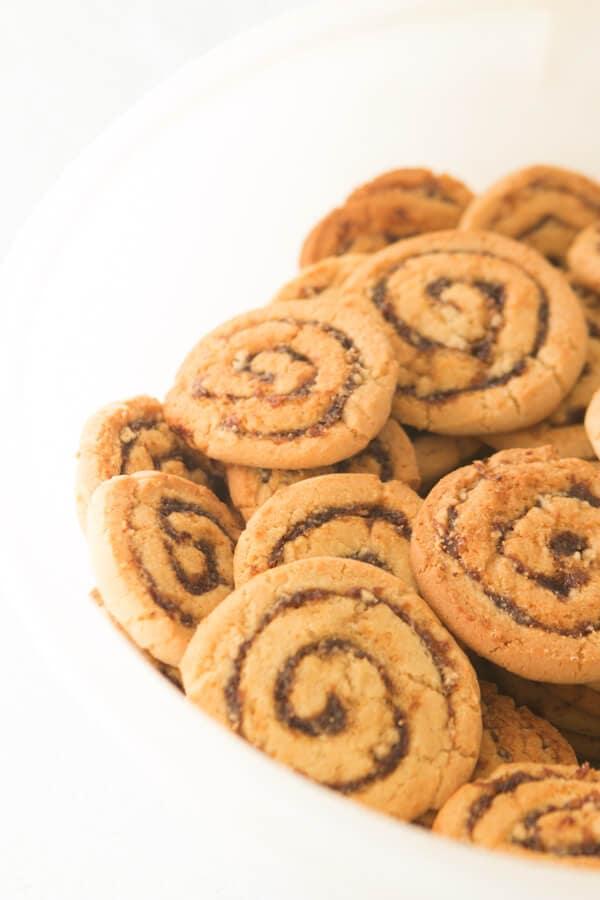 bowl full of Pinwheel Cookies