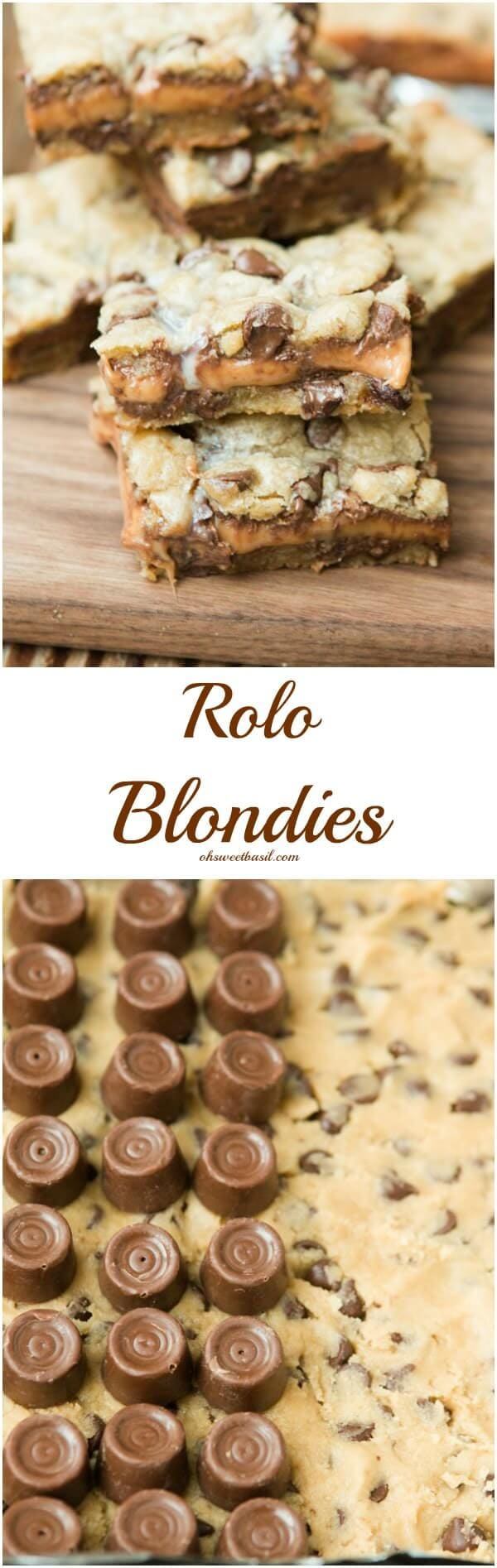 Holy Deliciousness! Rolo Blondies ohsweetbasil.com