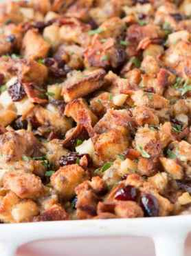 It's the recipe that made a lover out of a hater for stuffing, sweet and savory cinnamon bread stuffing with apples and bacon! ohsweetbasil.com