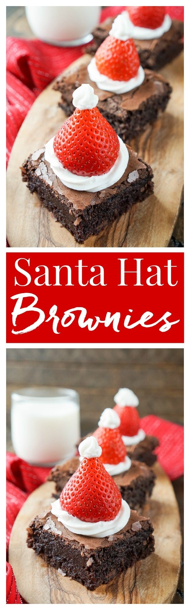 These Santa Hat Brownies are a simple and festive rich chocolate dessert the whole family will love!