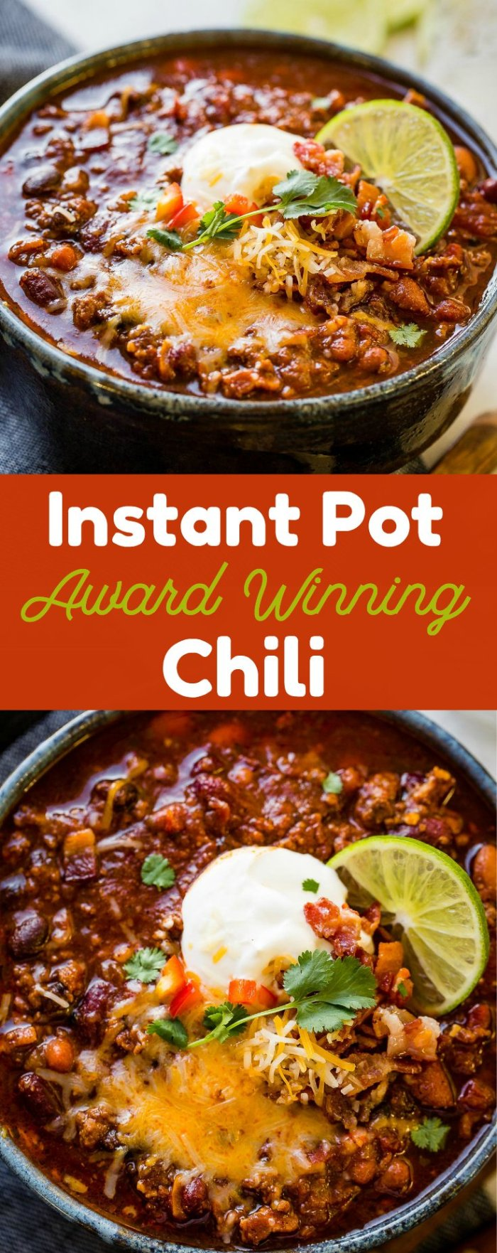 Instant Pot Chili that is award winning and bringing home chili cook-off victories across the country. You don't want to miss diving into a bowl of our best chili recipe!