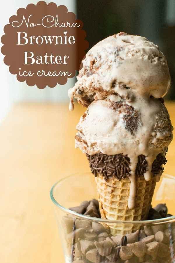 Easy No-Churn Brownie Batter Ice Cream!