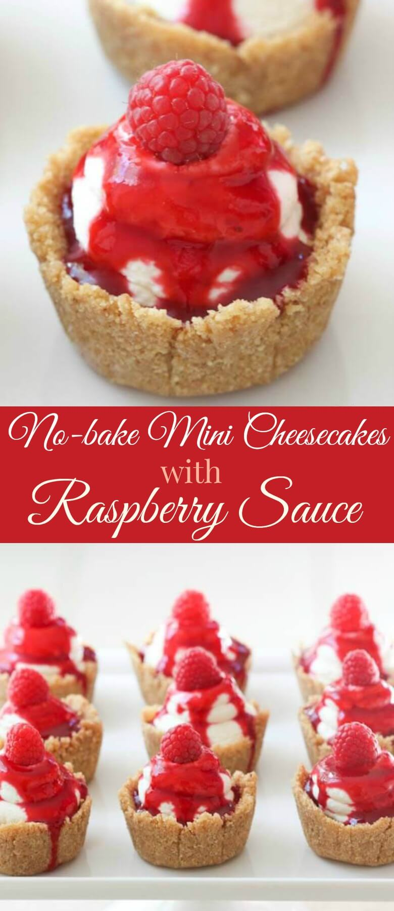 No Bake Mini Cheesecakes With Raspberry Sauce Oh Sweet Basil