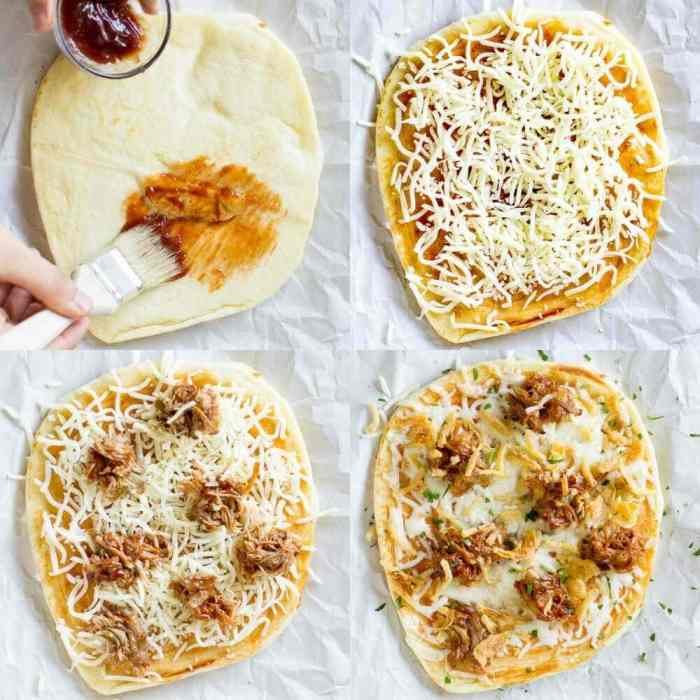photo collage - The four different stages of making this delicious pulled pork pizza. Painting barbecue sauce on flatbread. Adding cheese, pulled pork and other toppings.