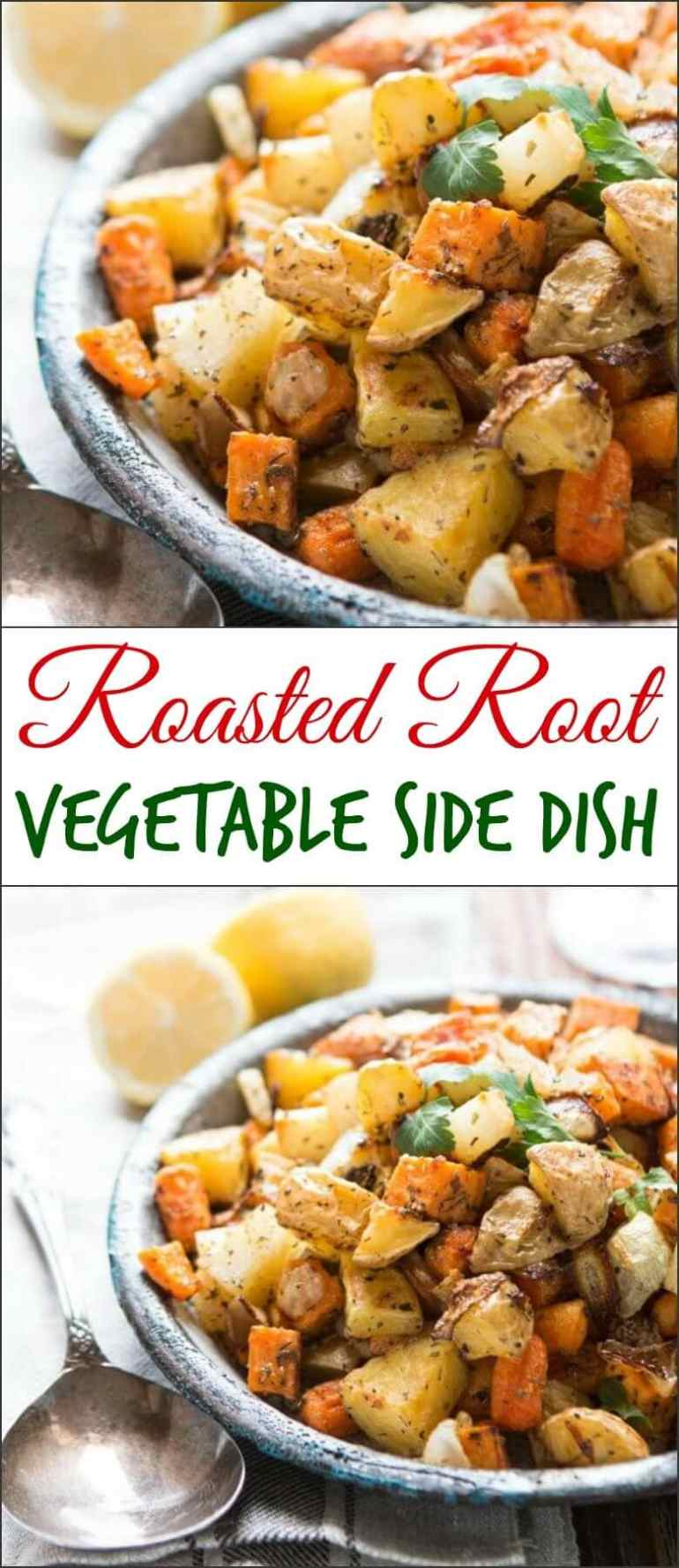 One of our favorite side dishes can also be made into a simple main dish! Roasted root vegetable side dish with simple herbs! Whole 30, paleo, gluten-free, dairy-free