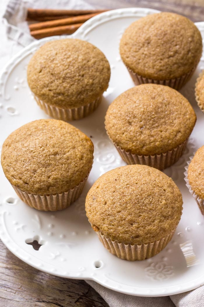 A plate of moist, flavorful spice cake cupcakes