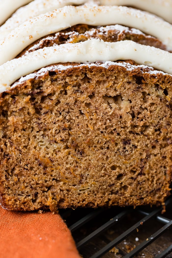 Banana Bread should be moist, flavorful and always served warm. We decided to take two favorites and create a carrot cake banana bread with cream cheese frosting!