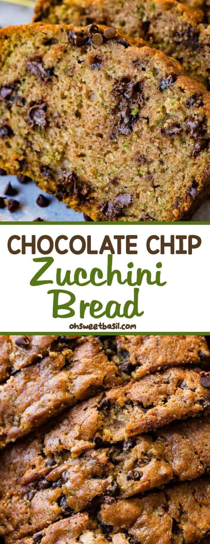 a photo of a slice of zucchini bread with two more slices stacked behind it that are full of mini chocolate chips all sitting on the counter with mini chocolate chips sprinkled on the counter in front of the bead