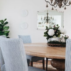 Blue And White Dining Chairs Johnson Massage Chair French Country Room Oh Sweet Basil In With Natural Wood Striped
